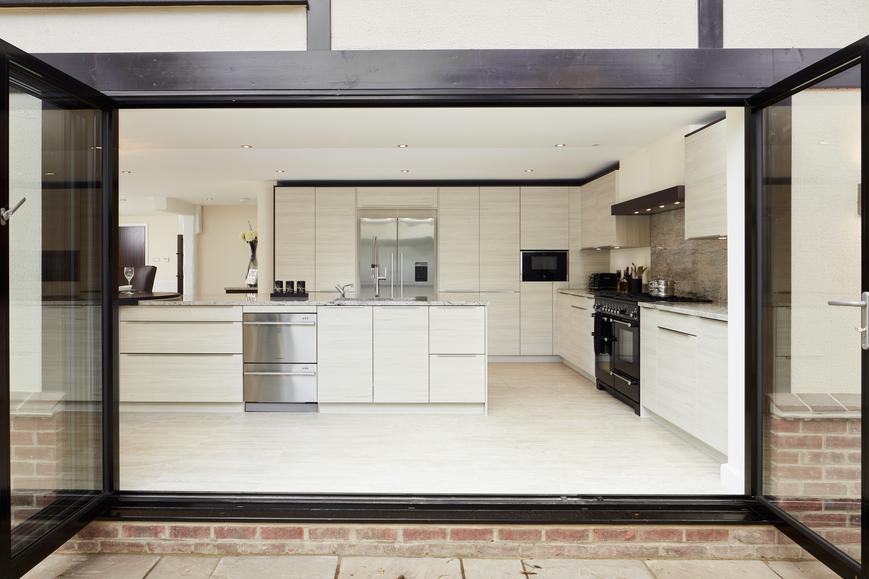 Wood/glass double doors