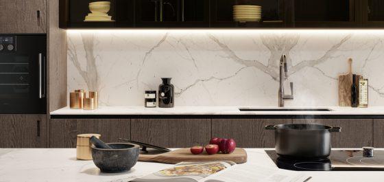 Marble-look luxury kitchen worktops