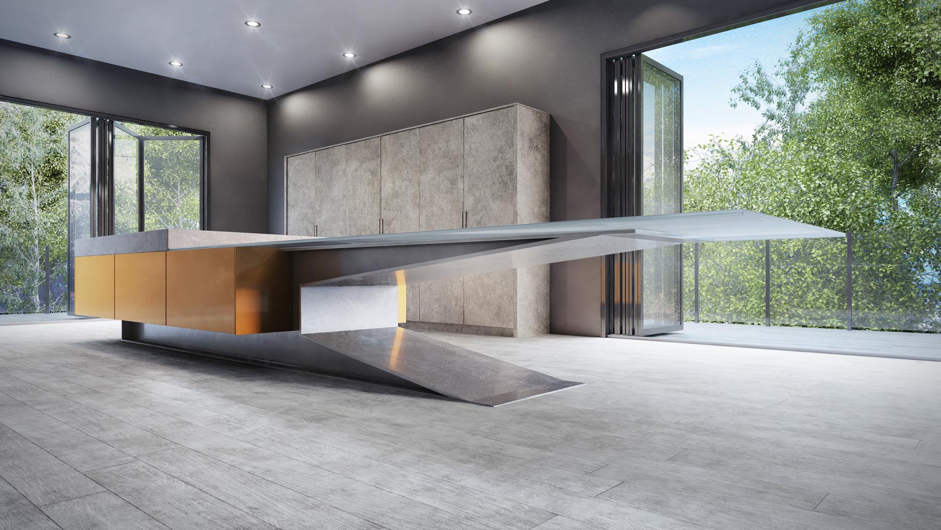 modern kitchen metal