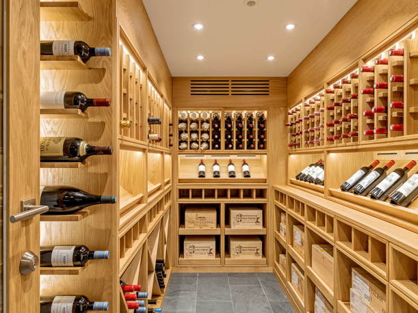 Classic oak wine room