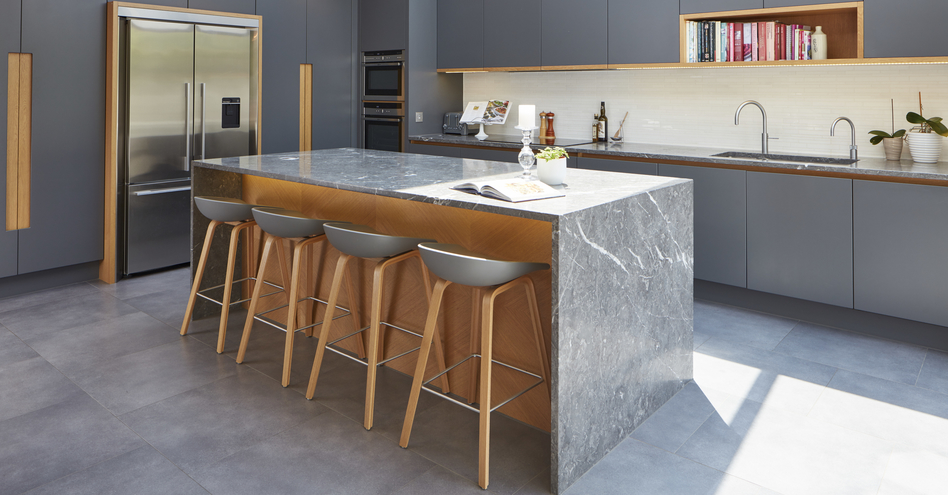 Modern grey kitchen stools