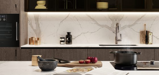 Marble-look luxury kitchen worktops
