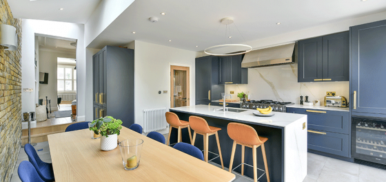 Kitchen extension with wooden table