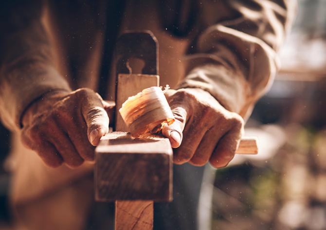 Furniture maker making solid wood kitchen