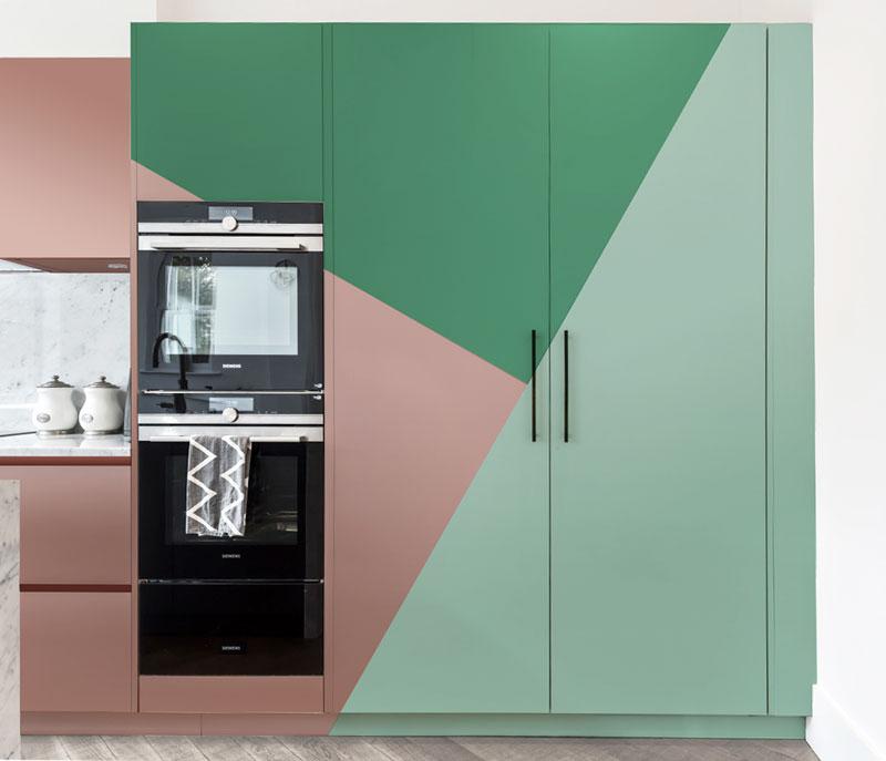 Kitchen Design Trend Colour Blocking - Green Pink Colour Blocking