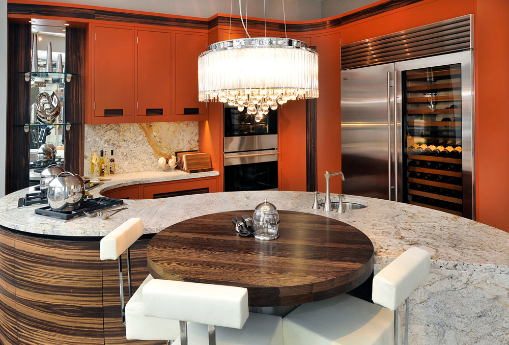 Handmade Kitchens in Orange and Wood