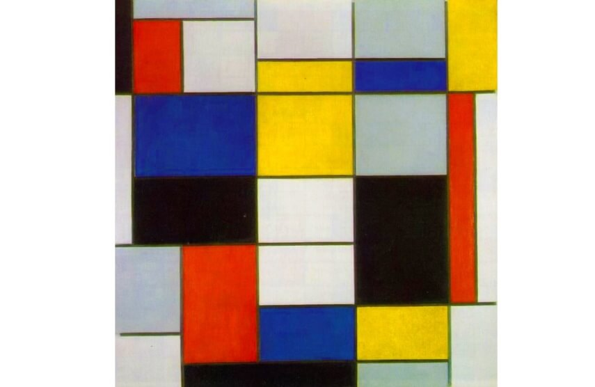 Piet Mondrian Large Composition A with Black Red Gray Yellow and Blue 1920