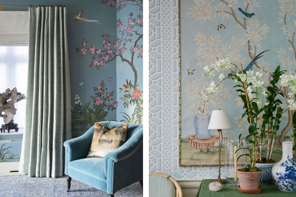 Blue Chinoiserie floral and landscape Wallpaper