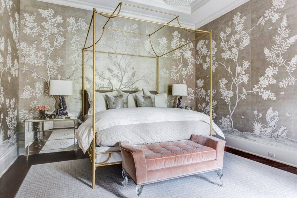 Bedroom with Chinoiserie wallpaper by Gracie and contemporary interior style.
