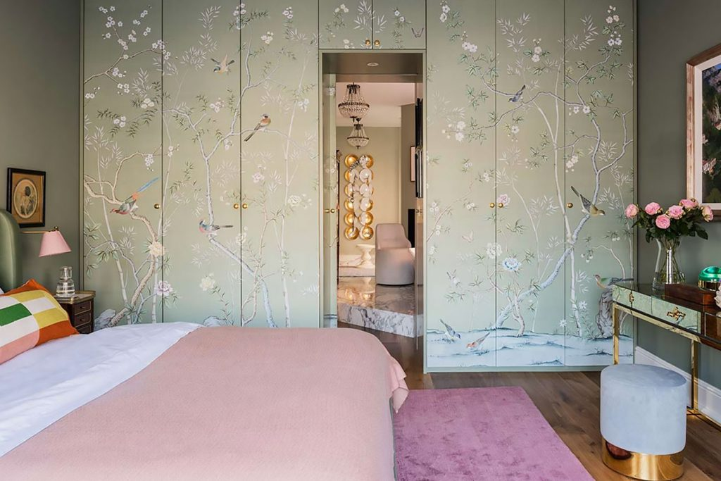 Bedroom with Chinoiserie wardrobes