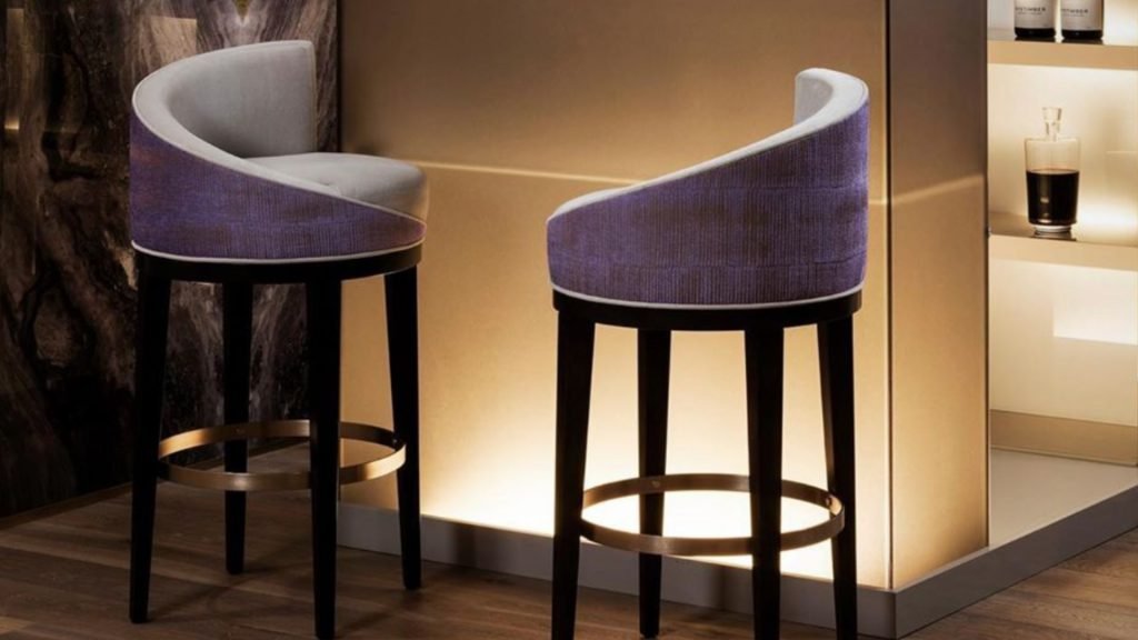 Purple Elegant Bar Stool by Sofa & Chair Company