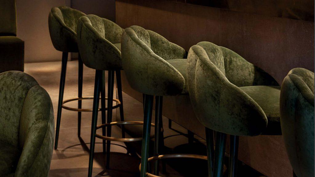 Green Velvet Bar Stool