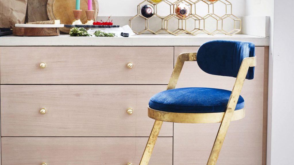 Blue Velvet and Gold Bar Stool by Oliver Bonas