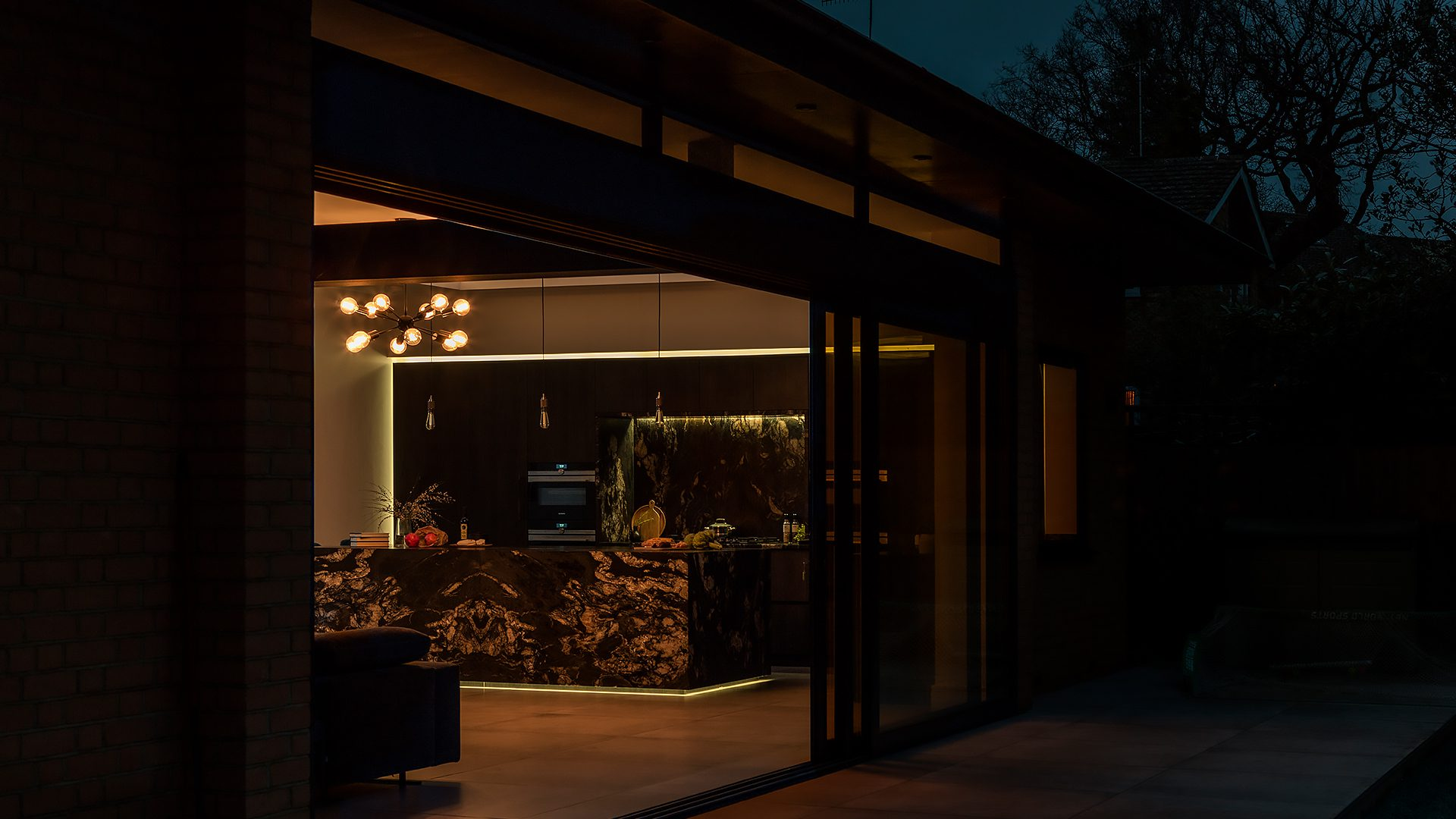 Black Kitchen Extension at night