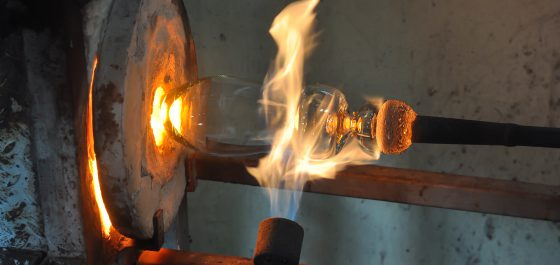 Murano Glass craft - glass being blown in furnace