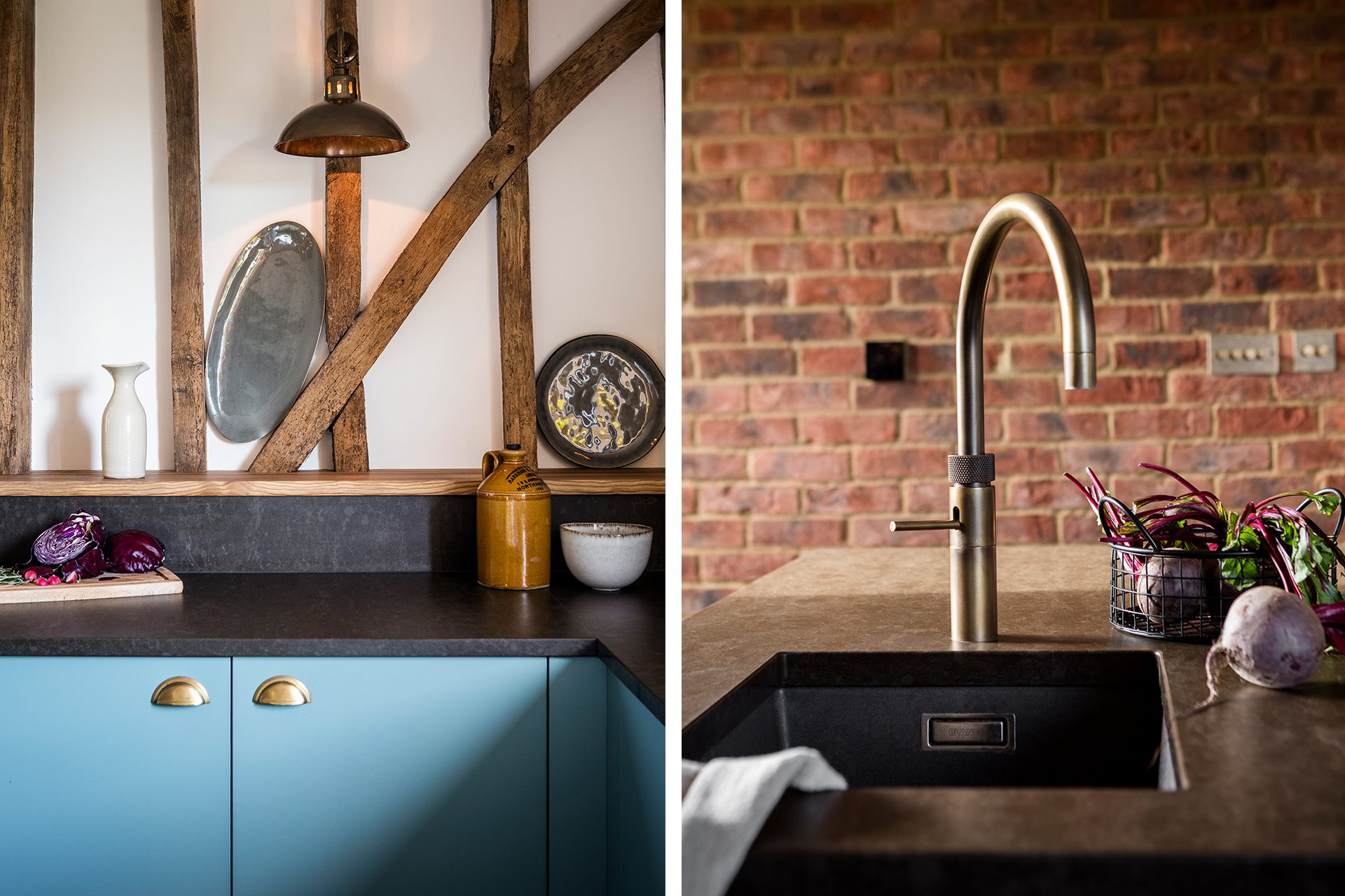 Rustic Country Kitchen with Bronze Quooker Tap