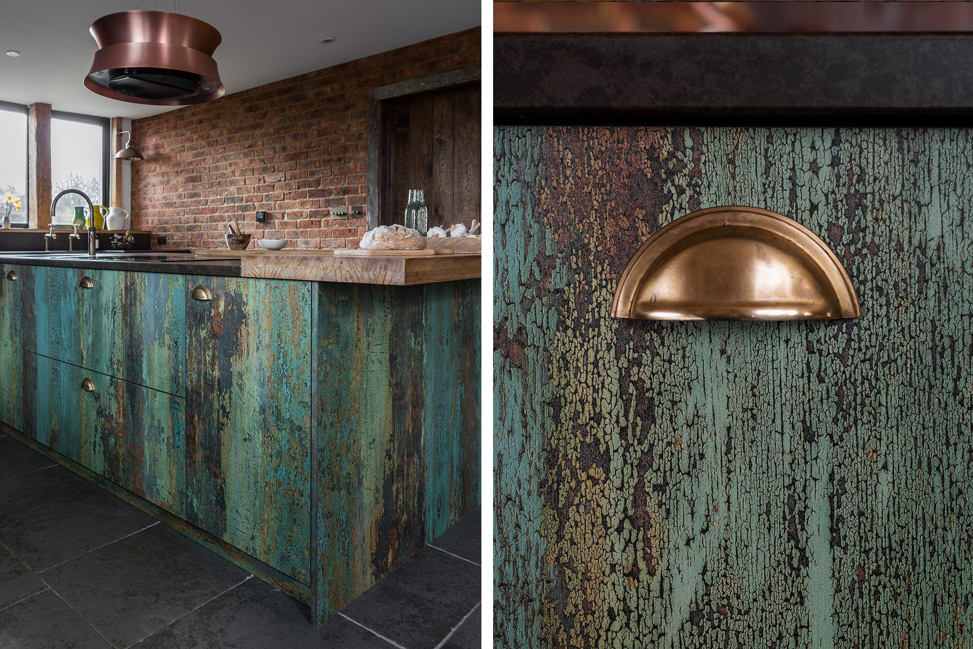 Rustic Country Kitchen with Wooden Green Textured Cabinets and Bronze Cup Handles