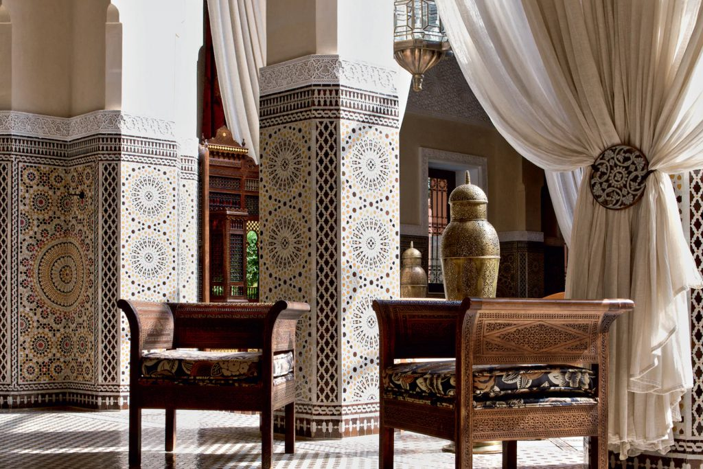 The Lobby at the Royal Mansour, Marrakech with bohemian Zellig tiled walls