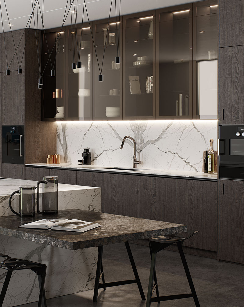 luxury kitchen with smoked glass cabinets with internal lighting