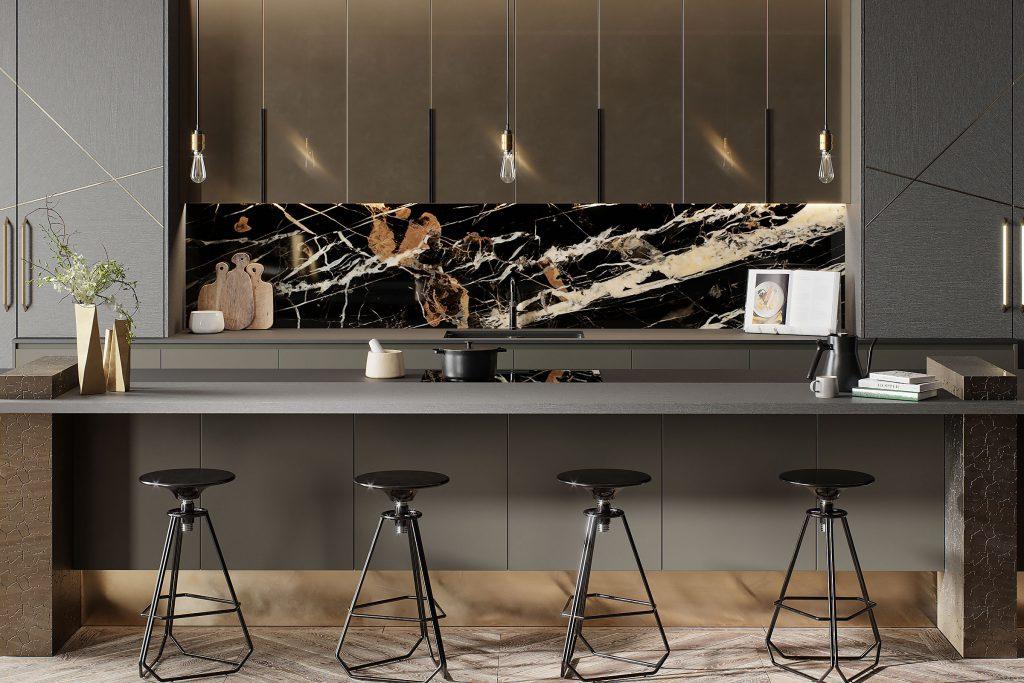 luxury kitchen with under cabinet lighting above splashback