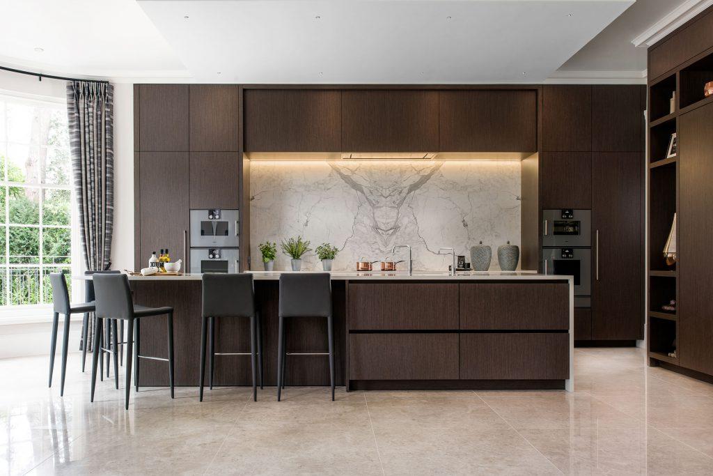 luxury brown timber kitchen with accent splashback lighting