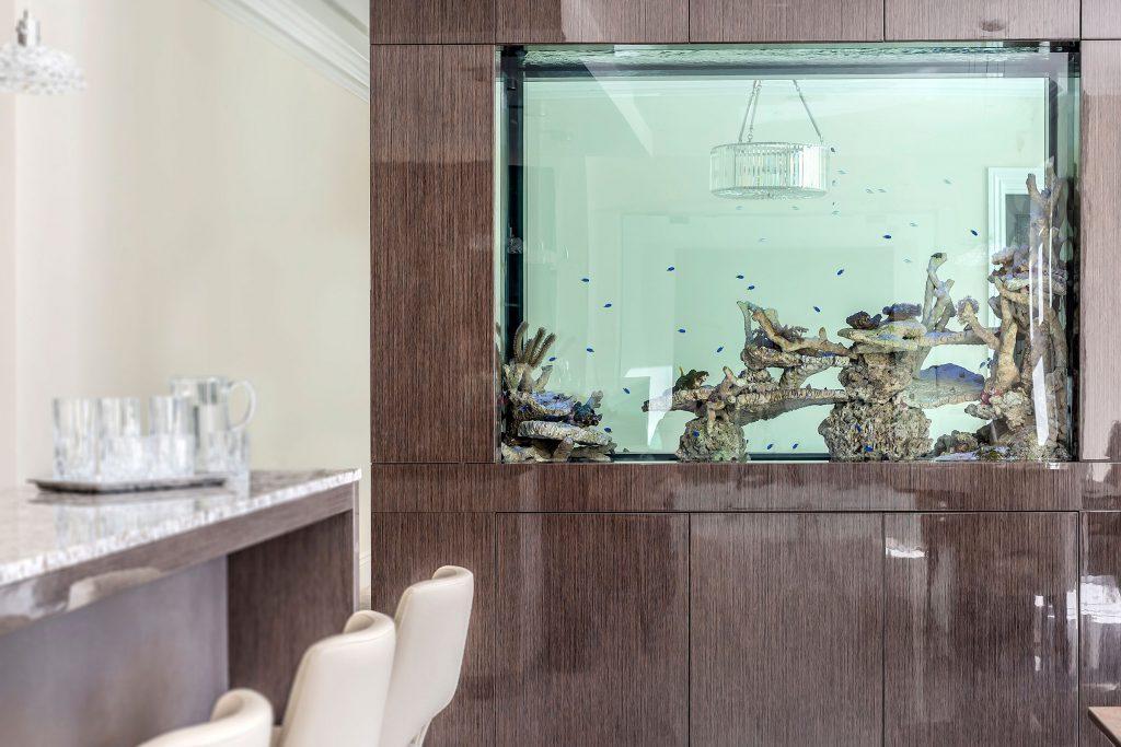 kitchen with fish tank dividing wall
