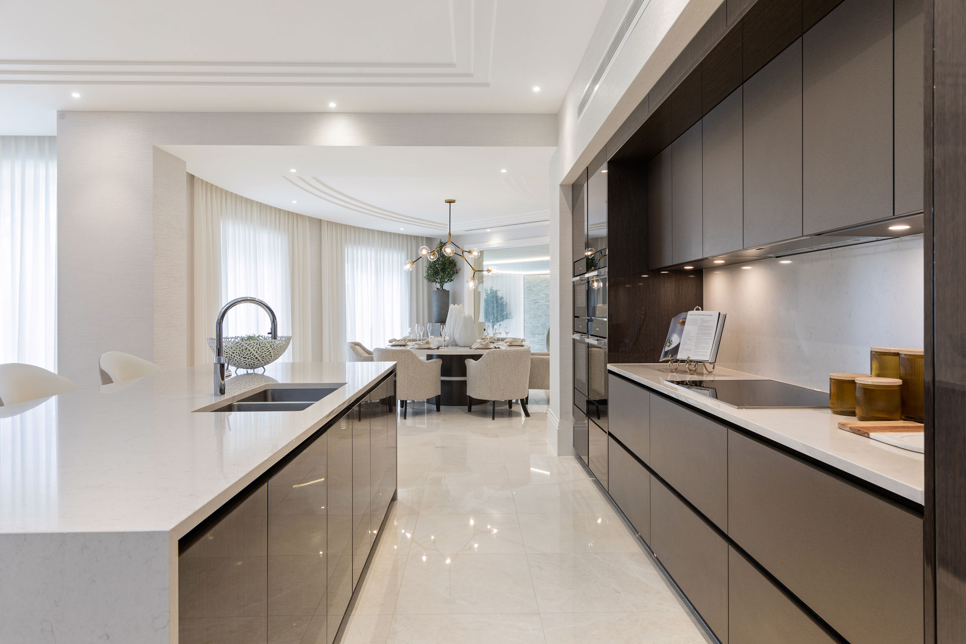 Kitchen and dining area in mansion home