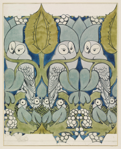 Arts & Crafts The Owl Wallpaper by Voysey