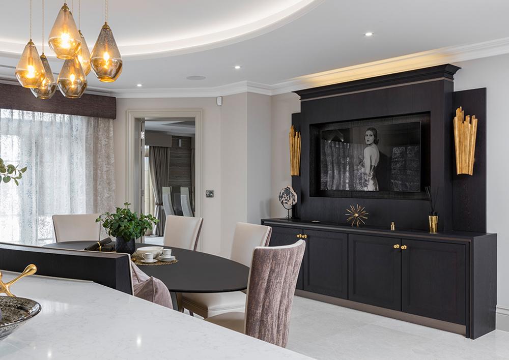 Bespoke TV Cabinet in Luxury Kitchen
