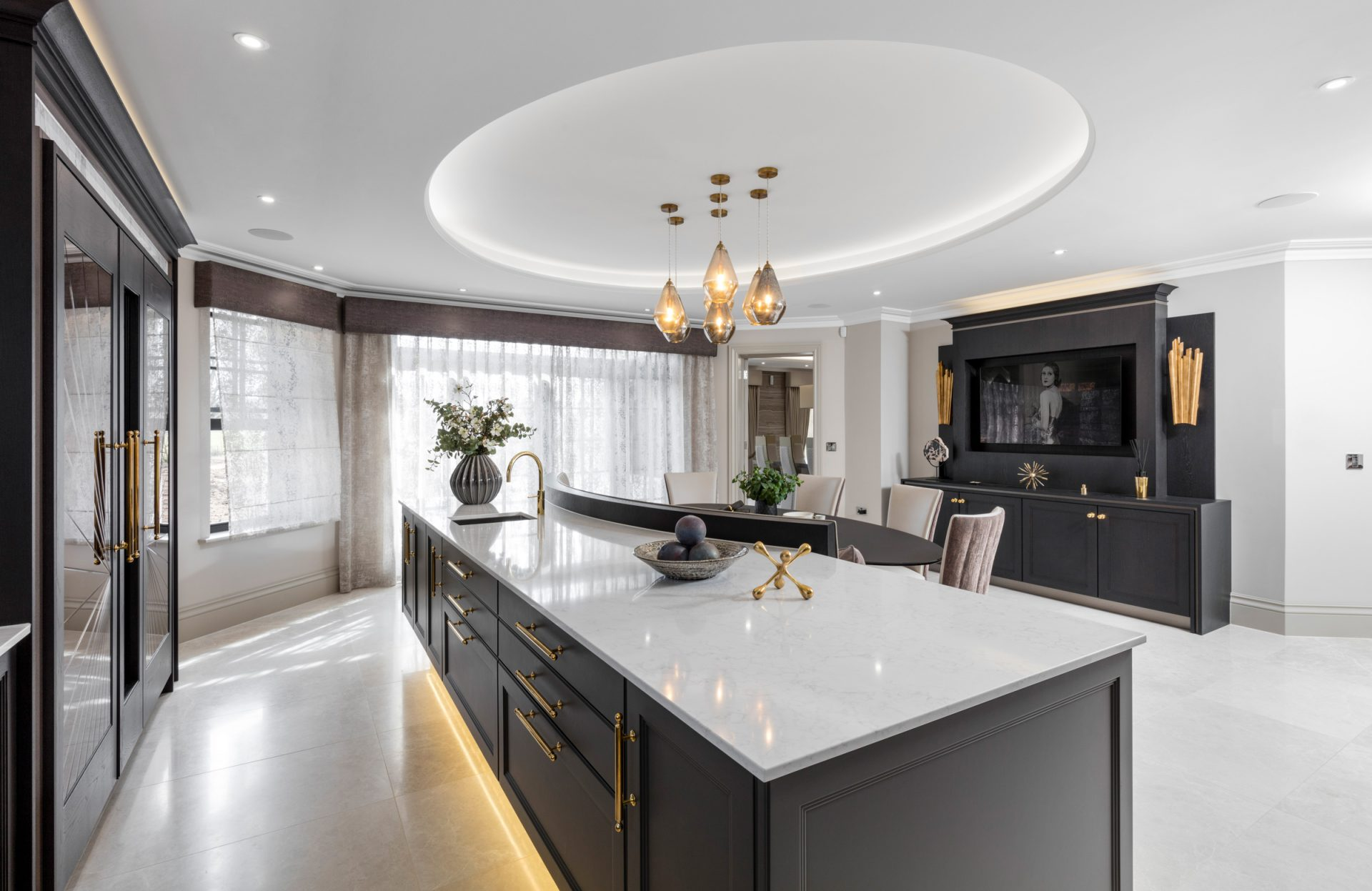 Extreme Art Deco Luxury Kitchen with TV