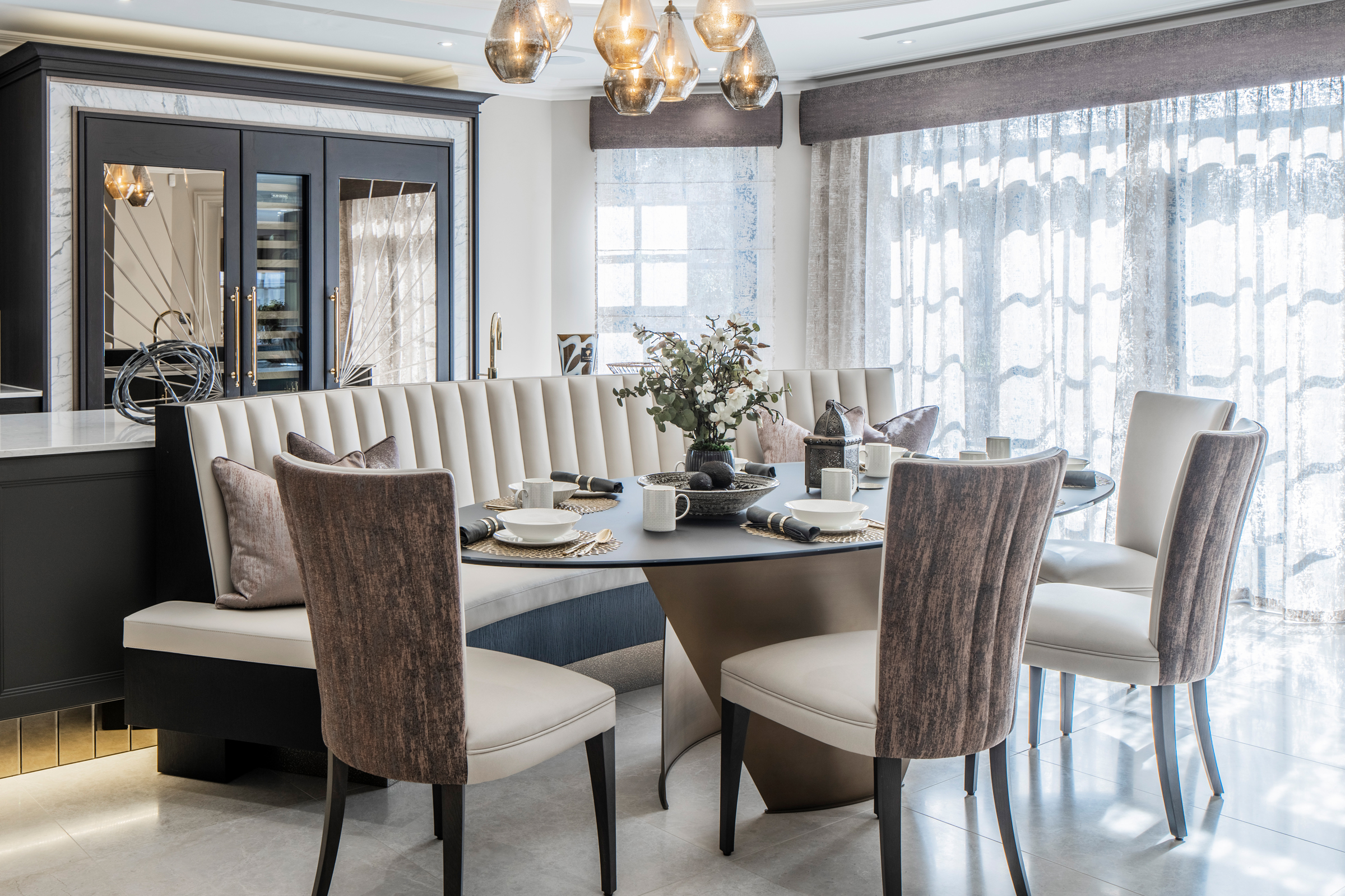 luxury kitchen banquette seating dining table