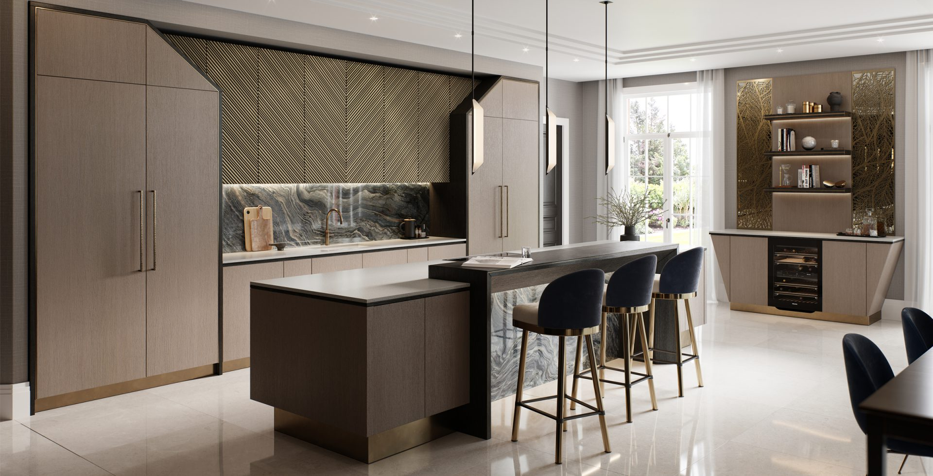contemporary kitchen with island and bar