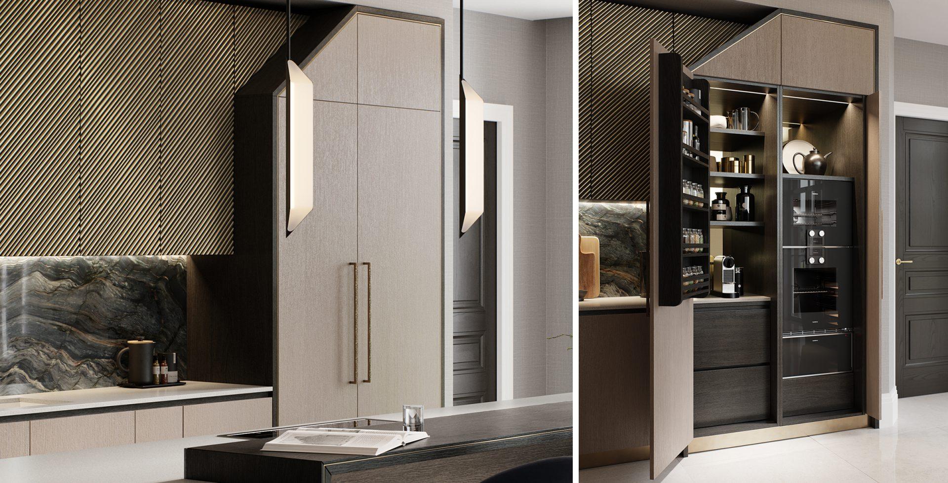 contemporary kitchen pocket door pantry
