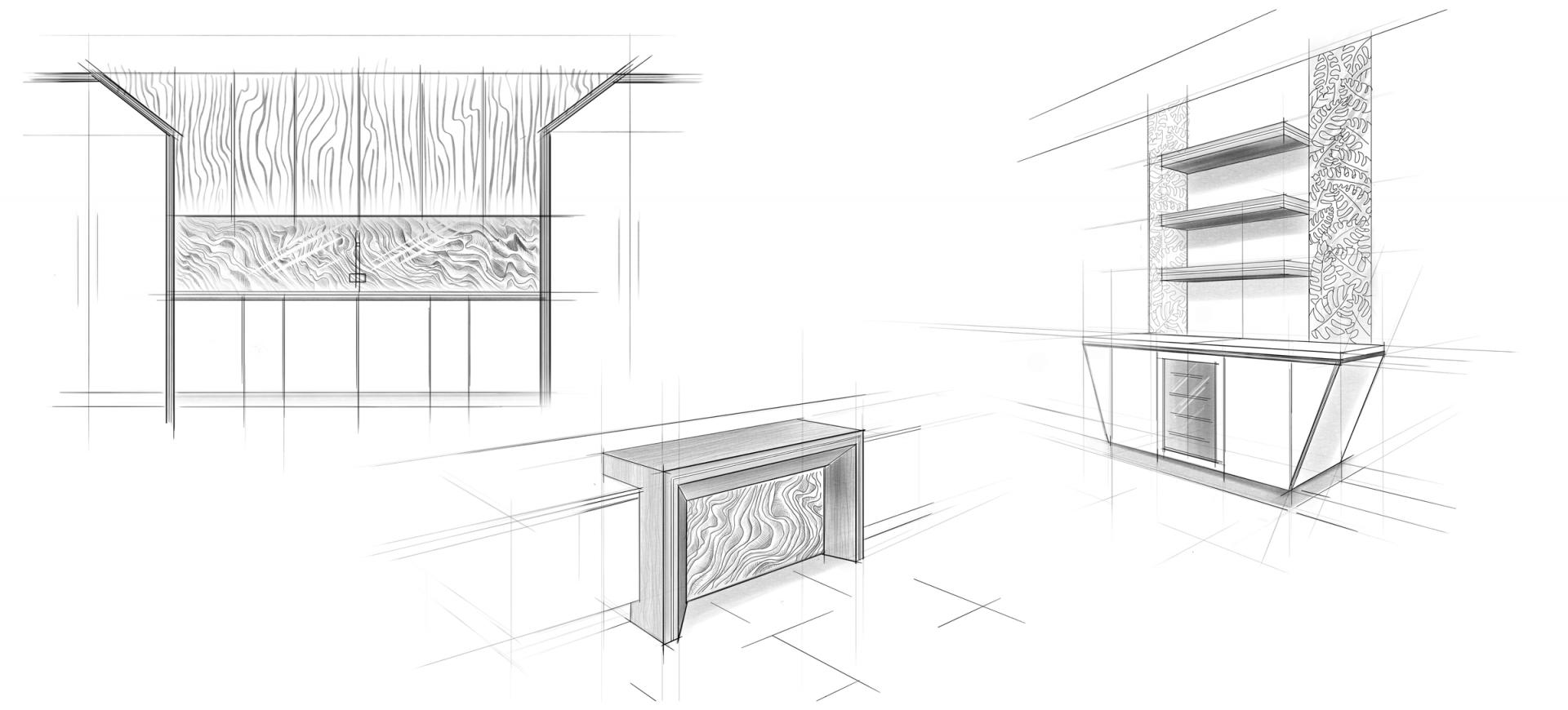 Contemporary Kitchen Design Sketch by Extreme Design